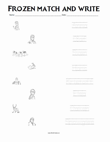 Frozen Worksheets for Preschoolers Unique Frozen Matching Worksheet Free Printable Allfreeprintable