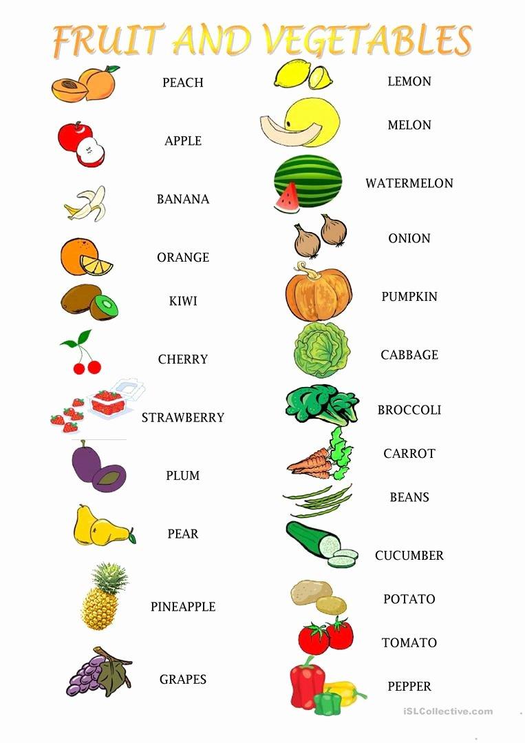 Fruits and Vegetables Worksheets for Preschoolers Best Of English Esl Fruit and Ve Ables Worksheets Most