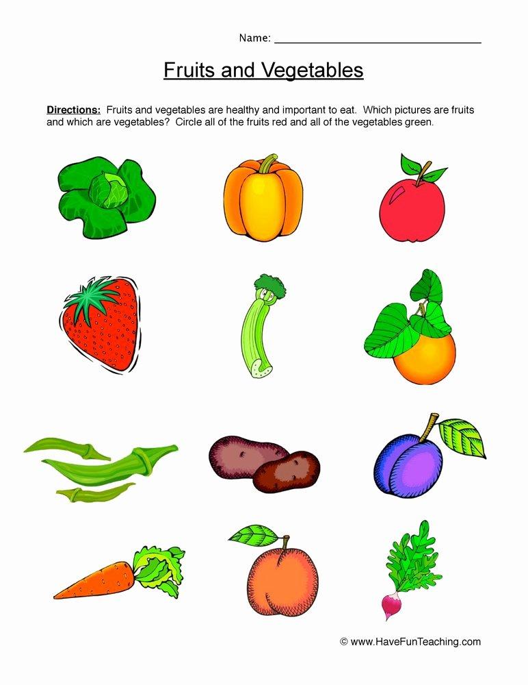 Fruits and Vegetables Worksheets for Preschoolers Inspirational Fruits and Ve Ables Worksheet