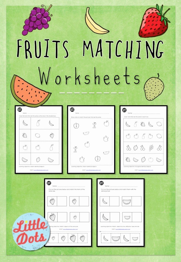 Fruits Worksheets for Preschoolers Inspirational Preschool Fruits theme Matching Worksheets and Activities