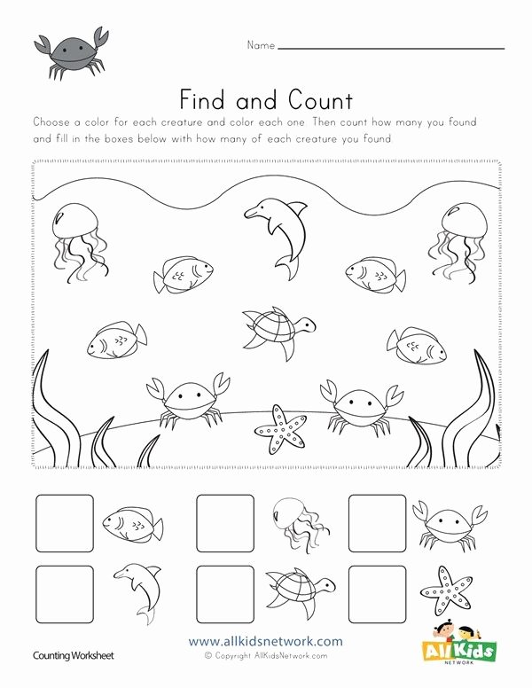 Fun Worksheets for Preschoolers Lovely Ocean Find and Count Worksheets All Kids Network