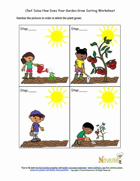 Gardening Worksheets for Preschoolers Beautiful Kids Garden Chronological sorting Activity Worksheet
