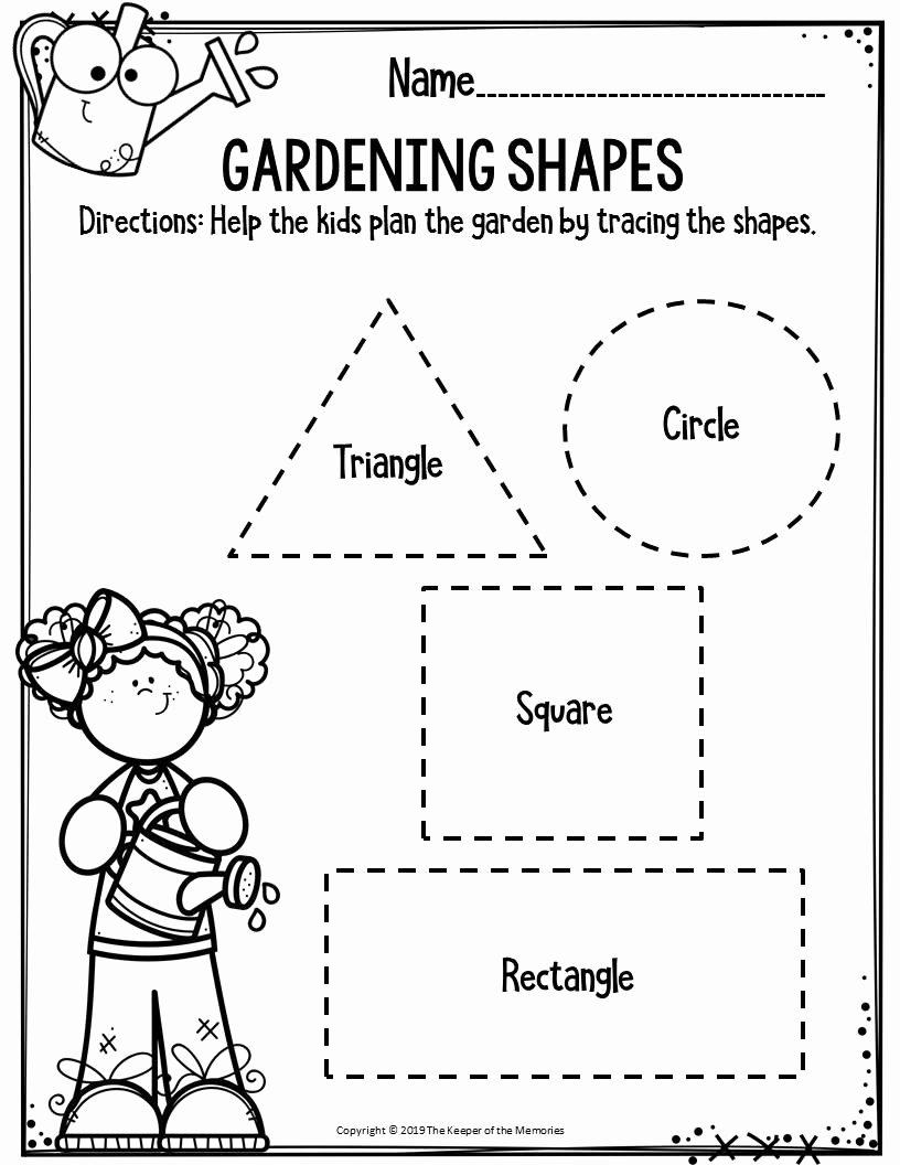 Gardening Worksheets for Preschoolers Fresh Preschool Worksheets Gardening Shapes the Keeper Of the