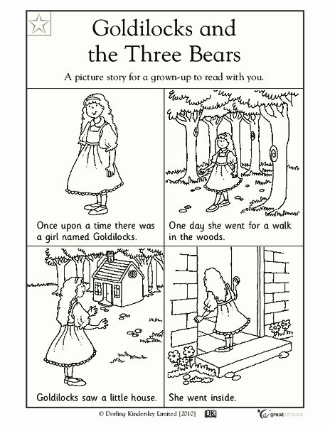 Goldilocks and the Three Bears Worksheets for Preschoolers Beautiful Goldilocks and the Three Bears Worksheet for Pre K