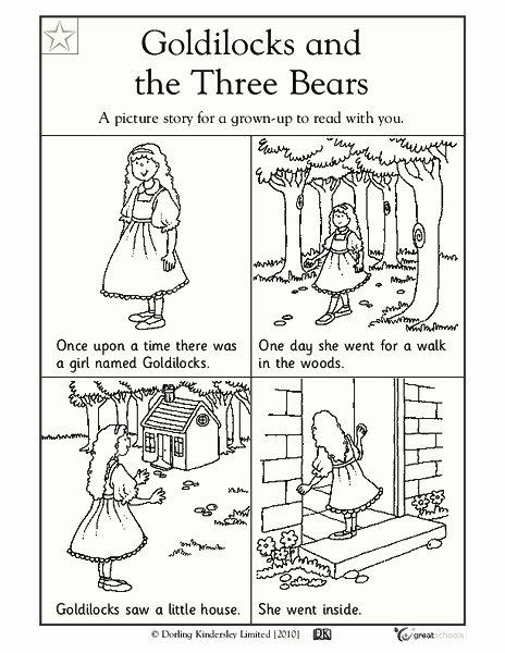 Goldilocks and the Three Bears Worksheets for Preschoolers Beautiful Goldilocks and the Three Bears Worksheet for Pre K