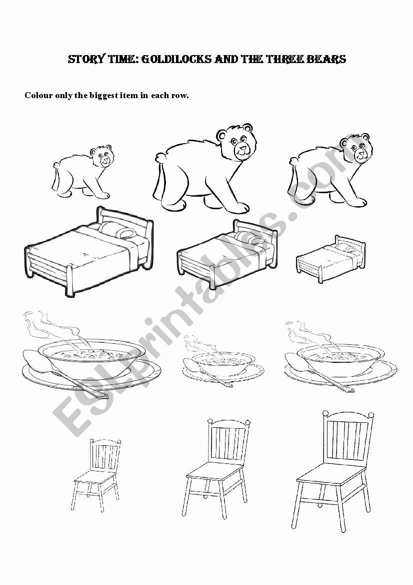 Goldilocks and the Three Bears Worksheets for Preschoolers Best Of Goldilocks and the Three Bears Kindergarten Preschool