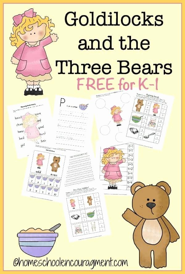 Goldilocks and the Three Bears Worksheets for Preschoolers New Goldilocks & the Three Bears Free Printable
