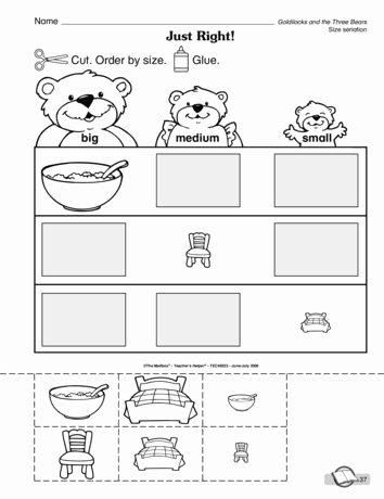 Goldilocks and the Three Bears Worksheets for Preschoolers top Just Right Lesson Plans the Mailbox
