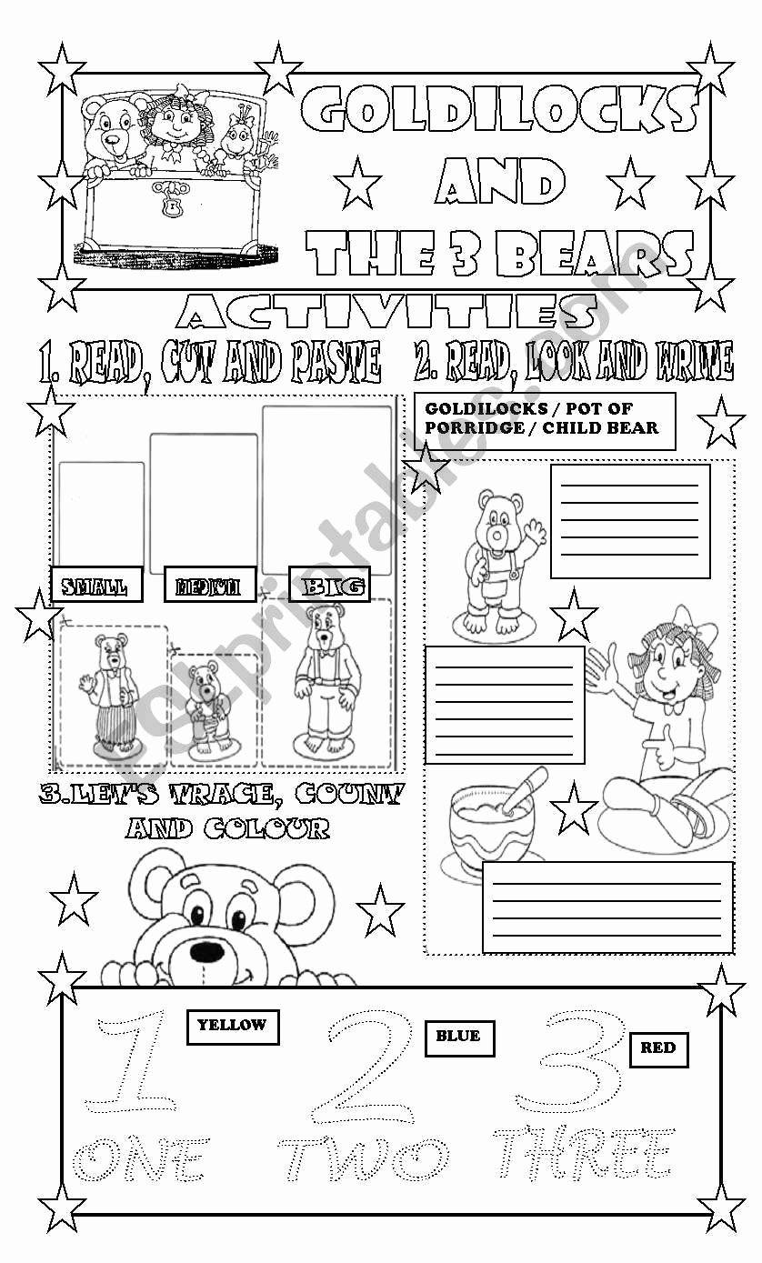 Goldilocks and the Three Bears Worksheets for Preschoolers Unique Goldilocks and the 3 Bears Activities Part 2 Esl