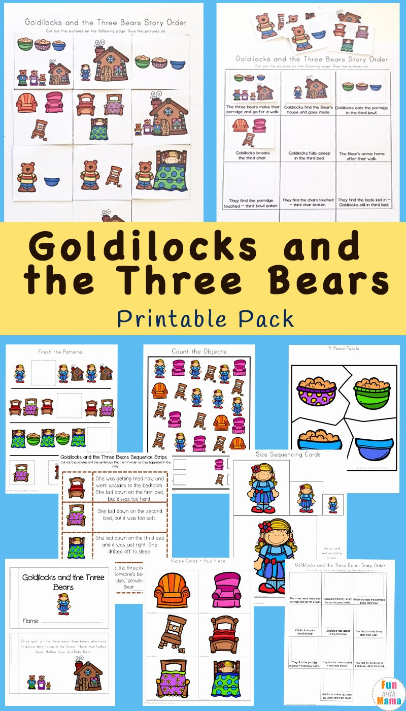 Goldilocks and the Three Bears Worksheets for Preschoolers Unique Goldilocks and the Three Bears Printable Pack Fun with Mama