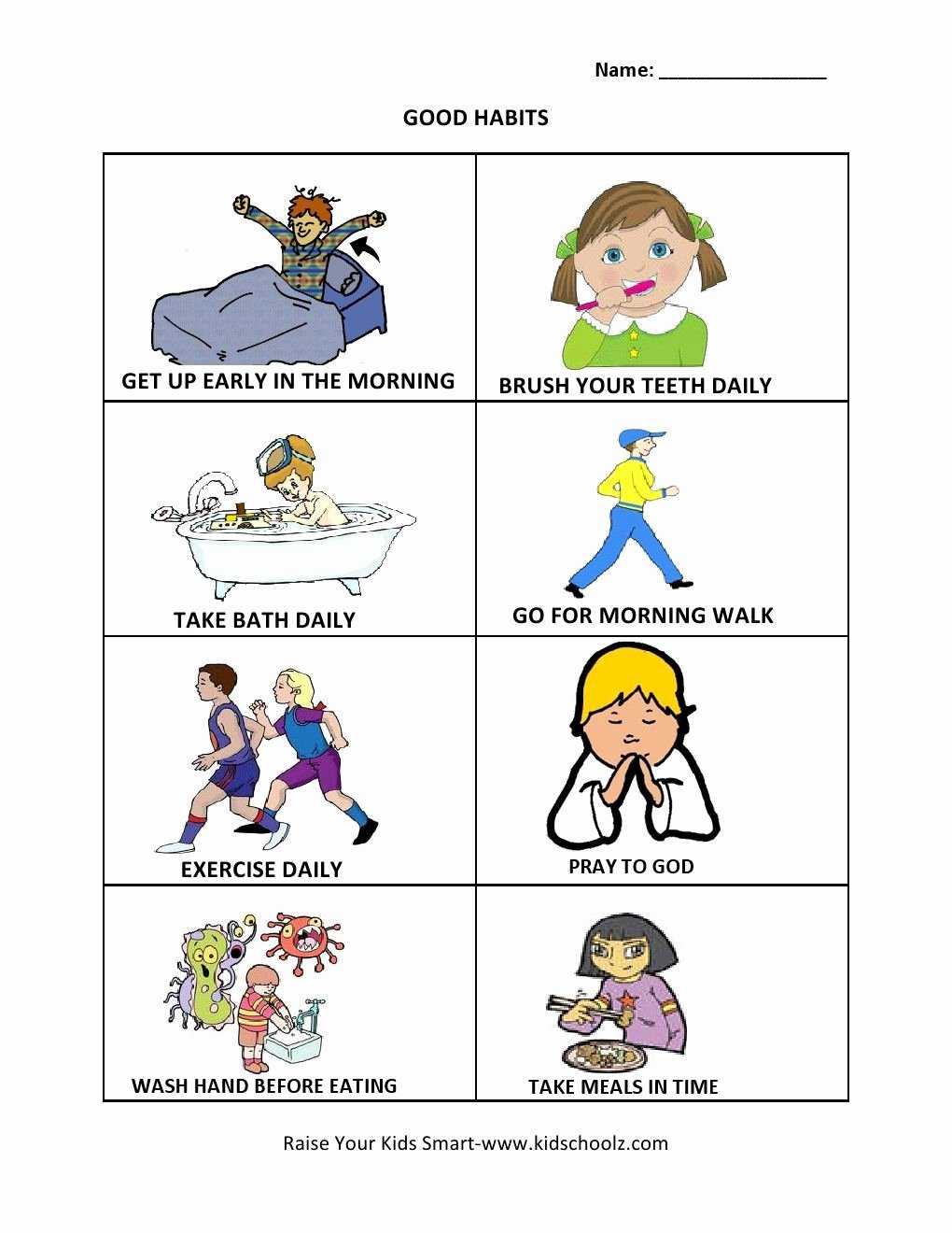 Good Habits Worksheets for Preschoolers Beautiful Grade 1 Good Habits Worksheet Summmer Vacation