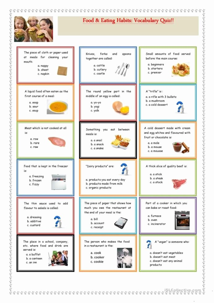 Good Habits Worksheets for Preschoolers Fresh Food Eating Habits Vocabulary Quiz English Esl Worksheets