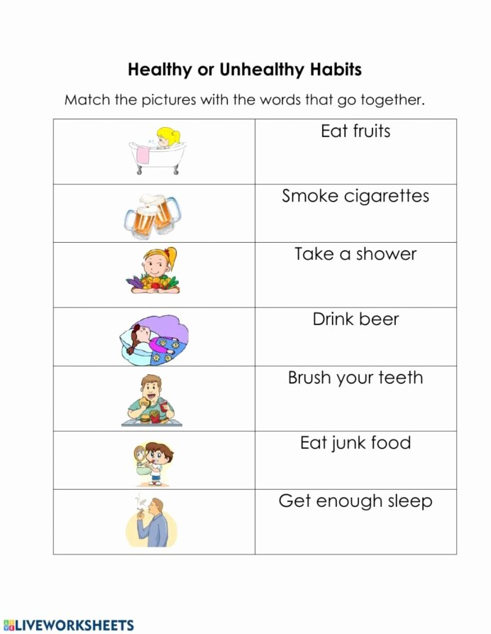 Good Habits Worksheets for Preschoolers top Healthy and Unhealthy Habits Interactive Worksheet