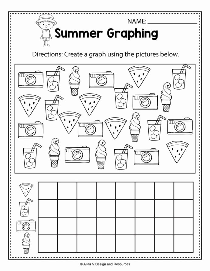 Graphing Worksheets for Preschoolers Beautiful Summer Graphing Worksheets and Activities for Preschool Math