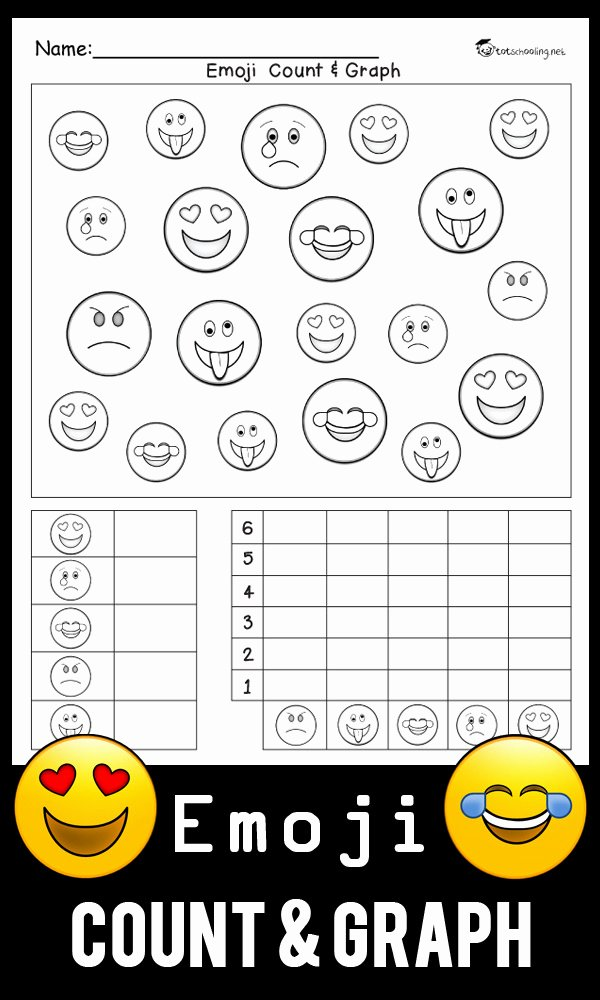 Graphing Worksheets for Preschoolers Lovely Emoji Count & Graph Worksheet