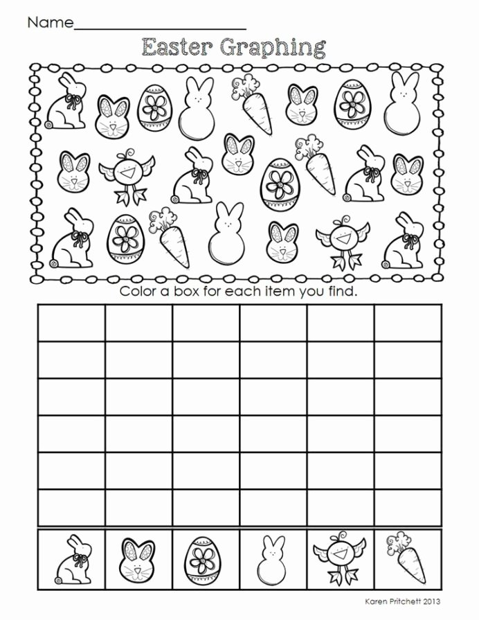 Graphing Worksheets for Preschoolers Lovely Graph Worksheet for Kids Easter Math Spring themed