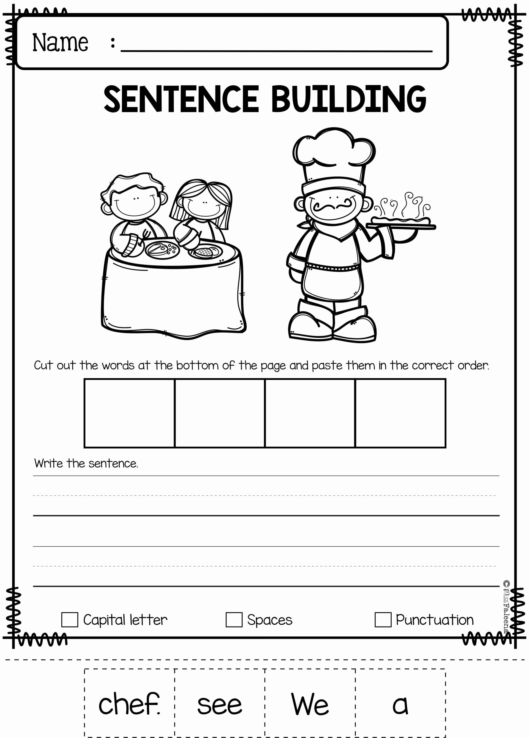 Graphing Worksheets for Preschoolers Unique September Sentence Building Writing Skills Worksheets