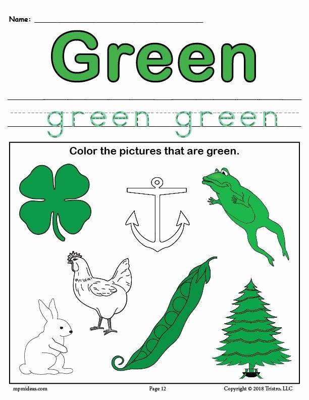 Green Worksheets for Preschoolers Fresh Coloring Pages Color Greenrksheet Supplyme