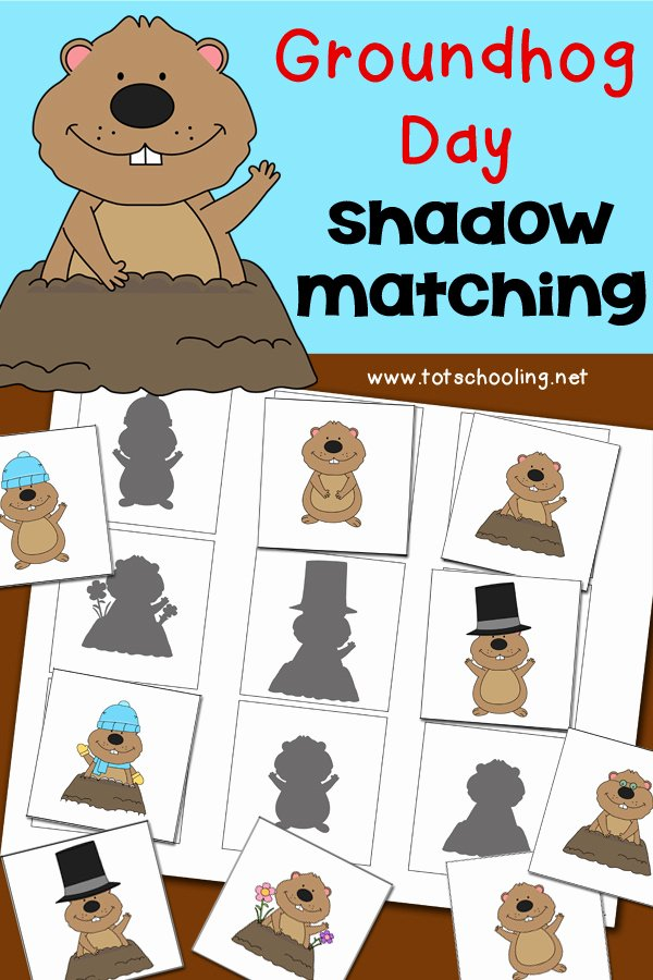 Groundhog Day Worksheets for Preschoolers top Groundhog Day Shadow Matching Activity