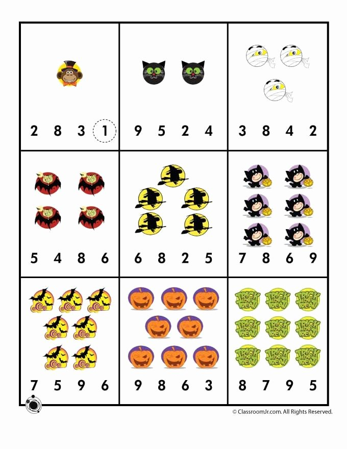 Halloween Counting Worksheets for Preschoolers Best Of Halloween Number Recognition Counting Worksheet