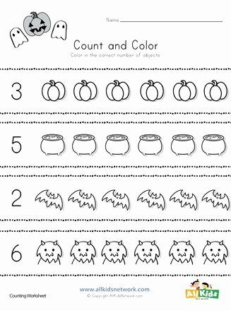 Halloween Counting Worksheets for Preschoolers Fresh Halloween Count and Color Worksheet