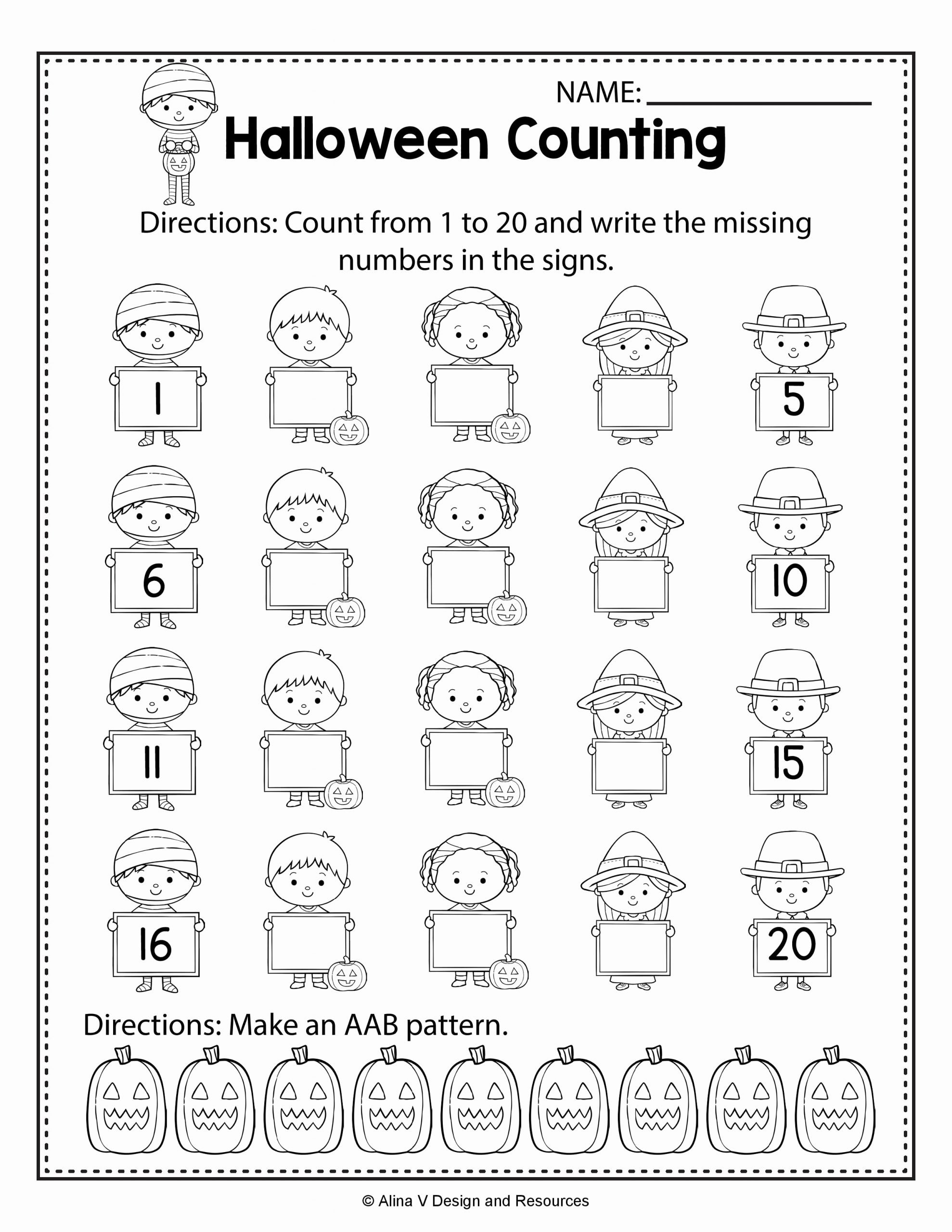 Halloween Counting Worksheets for Preschoolers Fresh Halloween Counting Math Worksheets and Activities for