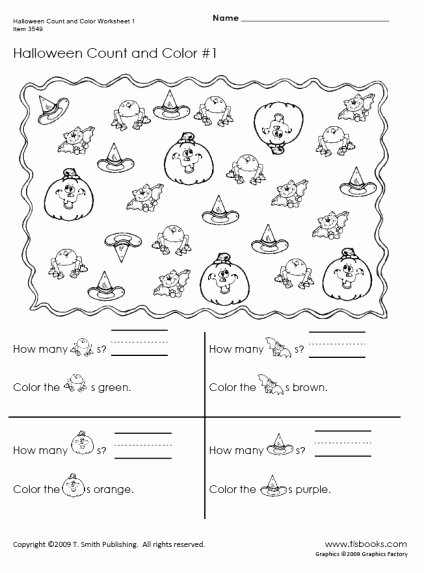 Halloween Counting Worksheets for Preschoolers Inspirational Halloween Count and Color Worksheets 1 2
