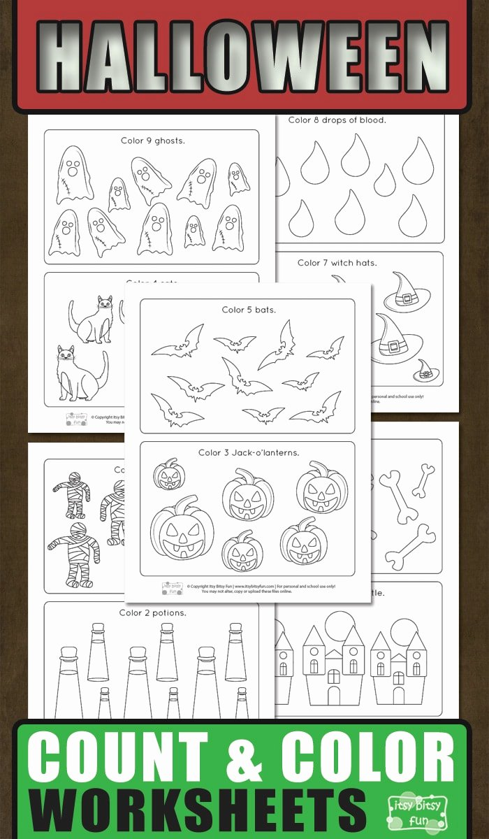 Halloween Counting Worksheets for Preschoolers Inspirational Halloween Count and Color Worksheets Itsybitsyfun