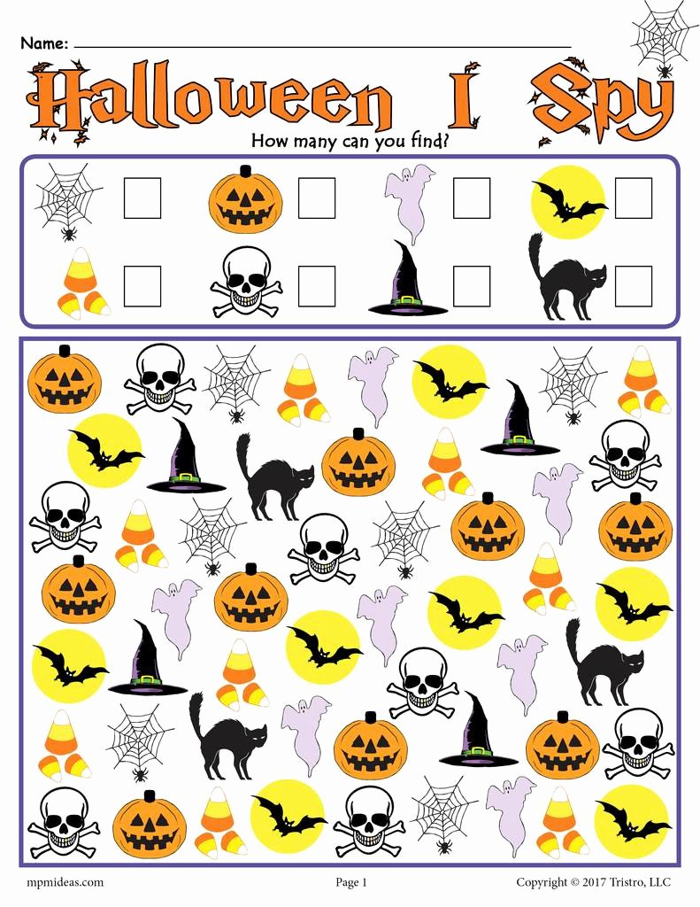 Halloween Counting Worksheets for Preschoolers Lovely Halloween I Spy Printable Halloween Counting Worksheet
