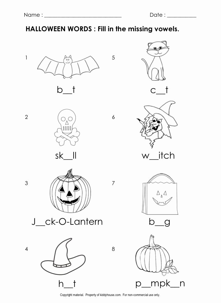 Halloween Printable Worksheets for Preschoolers Fresh Free Halloween Worksheets Fill In the Missing Vowels