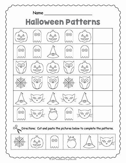 Halloween Printable Worksheets for Preschoolers Fresh Free Printable Halloween Pattern Worksheet