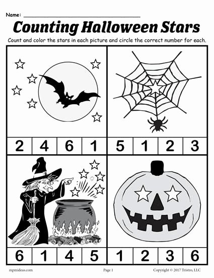 Halloween Printable Worksheets for Preschoolers New Printable Preschool Halloween Counting Worksheet