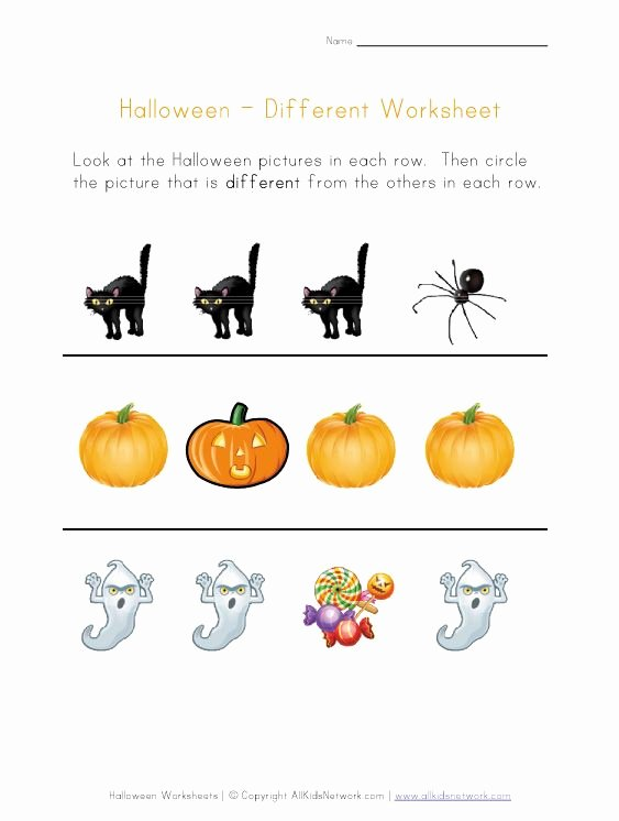 Halloween themed Worksheets for Preschoolers top Halloween Worksheet Things that are Different