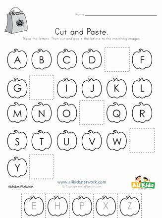 Halloween themed Worksheets for Preschoolers Unique Halloween Cut and Paste Missing Letters Worksheet
