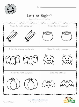 Halloween themed Worksheets for Preschoolers Unique Halloween Left and Right Worksheet