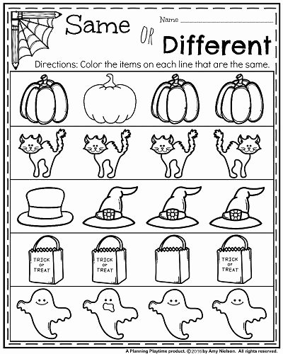 Halloween Worksheets for Preschoolers Fresh October Kindergarten Worksheets Planning Playtime