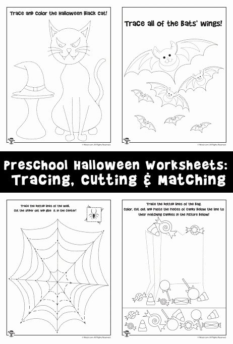 Halloween Worksheets for Preschoolers Inspirational Preschool Halloween Worksheets Tracing Cutting & Matching