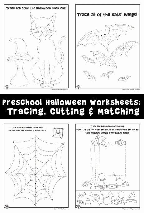 Halloween Worksheets for Preschoolers Inspirational Preschool Halloween Worksheets Tracing Cutting & Matching