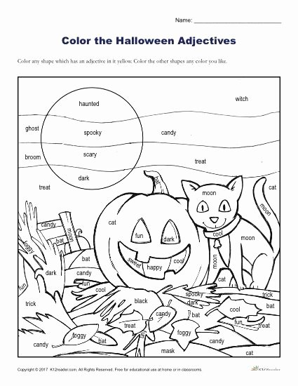 Halloween Worksheets for Preschoolers New Halloween Adjectives Printable Coloring Activity Worksheets