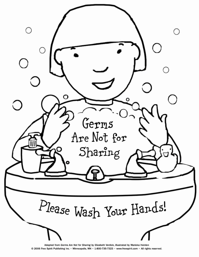 Hand Washing Worksheets for Preschoolers Unique Wash Those Hands Color the Hand Washing Scene Worksheets