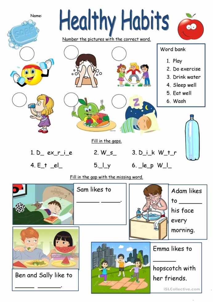 Healthy Habits Worksheets for Preschoolers Beautiful Healthy Habits Worksheet English Esl Worksheets for Distance