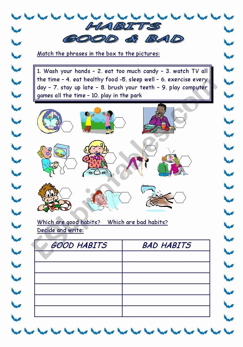 Healthy Habits Worksheets for Preschoolers Inspirational 34 Good Habits Vs Bad Habits Worksheet Free Worksheet