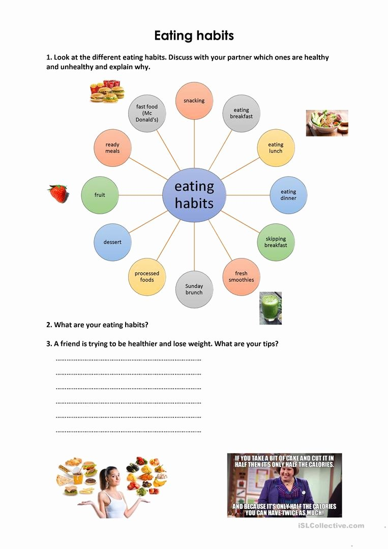 Healthy Habits Worksheets for Preschoolers New Eating Habits English Esl Worksheets for Distance Learning