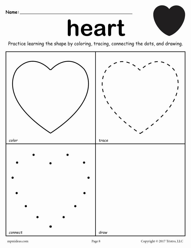 Heart Shape Worksheets for Preschoolers Awesome Heart Shape Worksheet Color Trace Connect & Draw