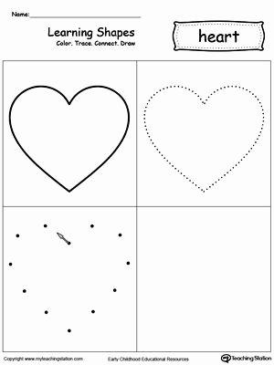 Heart Shape Worksheets for Preschoolers Awesome Learning Shapes Color Trace Connect and Draw A Heart