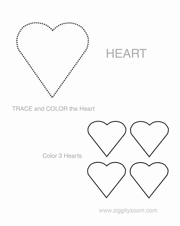 Heart Shape Worksheets for Preschoolers Lovely Home Ziggity Zoom Family