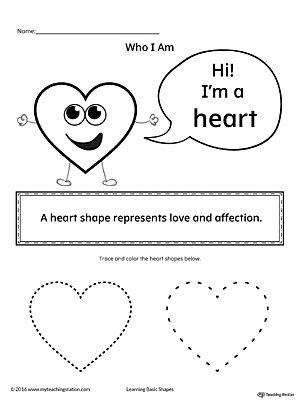 Heart Shape Worksheets for Preschoolers Lovely Learning Basic Geometric Shape Heart