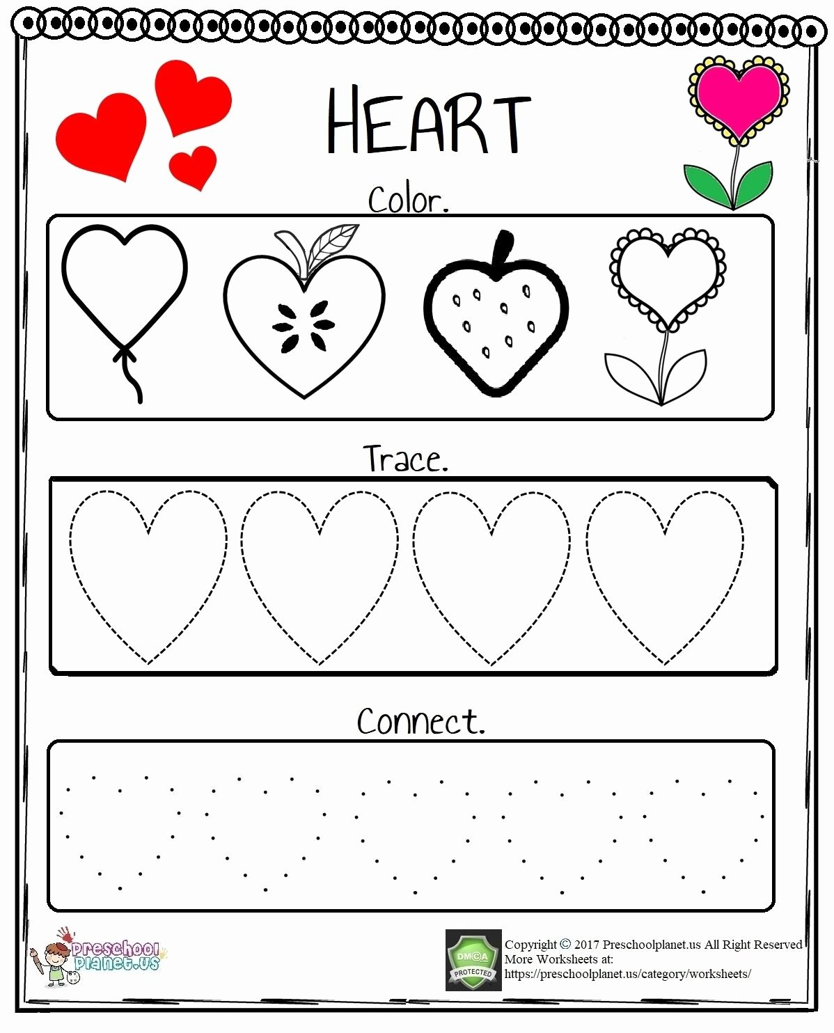 Heart Shape Worksheets for Preschoolers Unique Heart Worksheet In 2020