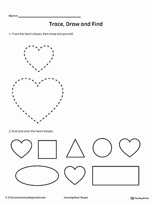 Heart Shape Worksheets for Preschoolers Unique Trace Draw and Find Heart Shape