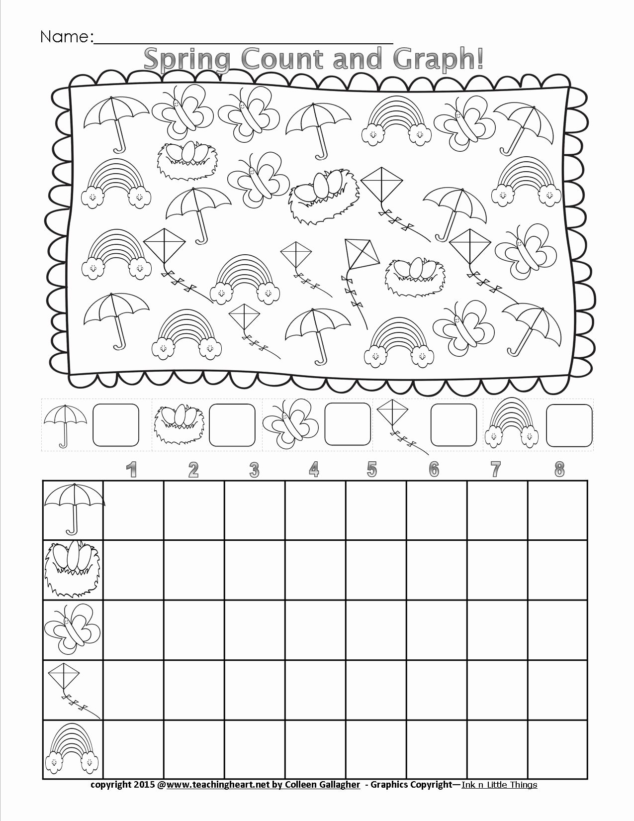 Heart Worksheets for Preschoolers Awesome Spring Count and Graph Free Teaching Heart Blog Graphing